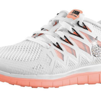 NIKE Free 5.0 2014 running shoes w/Swarovski Crystals - White/Black/Bright Mango/Pure Platinum