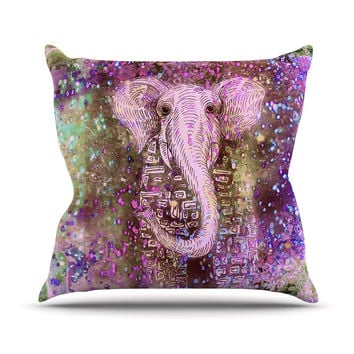 "Marianna Tankelevich ""Pink Dust Magic"" Elephant Sparkle Throw Pillow"