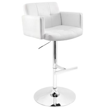 Stout White Barstool With Padded Seat, High Back And Armrests