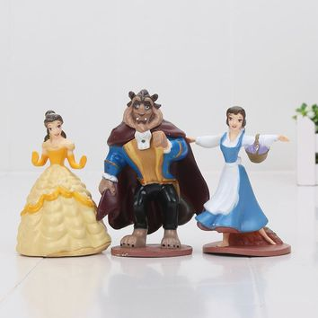 3pcs/set Beauty and the Beast Belle Princess Cute Figure Toy Doll Children Birthday Gift