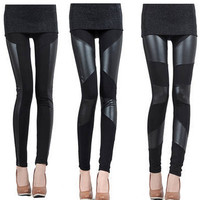 Punk Patchwork Poplin Leggings