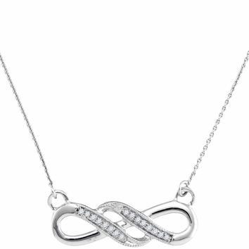 10kt White Gold Women's Round Diamond Infinity Pendant Necklace 1-20 Cttw - FREE Shipping (US/CAN)