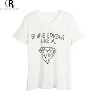 Women Casual White Shine Bright Like A Diamond Letter Print Loose T-shirt Tee Top One Size In Stock 2014 Summer Latest New