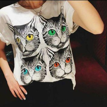DCCKG7J Gucci cats T-shirt