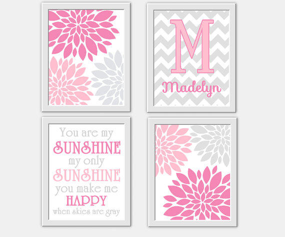 Baby Girl Nursery Wall Art Pink Gray You From