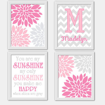 Awesome Baby Girl Nursery Wall Art Pink Gray You Are My Sunshine Flower Burst Girl  Room Wall