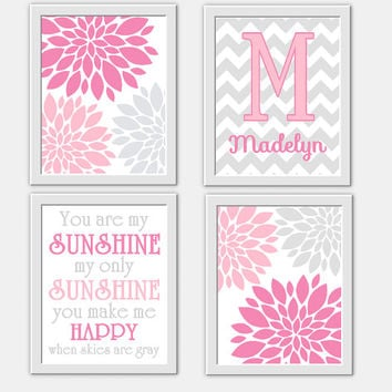Baby Girl Nursery Wall Art Pink Gray You Are My Sunshine Flower Burst Girl Room Wall Decor Personalized Art Baby Girl Nursery Wall Decor Art