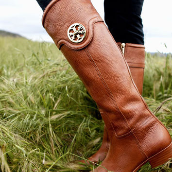 61% off Almond Tory Burch selma Riding Boot TNB001 for sale at TBFlats.com with free shipping & fast delivery!