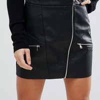River Island Petite Leather Look Zip Front Skirt at asos.com