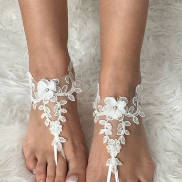 Ivory beach wedding sandals floral  bridal anklet bridesmaid  lace bangle feet accessory  foot jewelry flexible wrist  bellydance