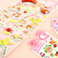 Buy Bow & Jewel Sponge Stickers - Pink Bunny at Tofu Cute