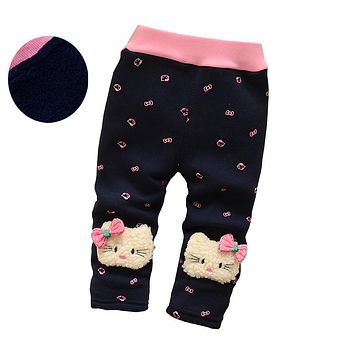 girls warm pants baby casual winter pants toddler Thicken warm Leggings trousers for girl newborn pants sports