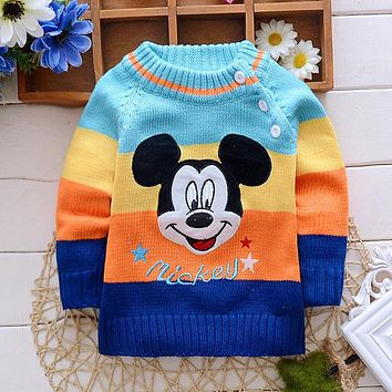 2016 autumn winter new baby boys girls sweater brand cartoon animal cardiganMickey Minnie  sweater clothing outwear