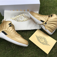 [ FREE SHIPPING ] AIR JORDAN 12 (PINNACLE GOLD) BASKETBALL SNEAKER