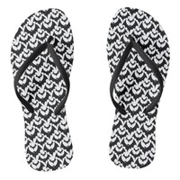 Black And White Bats Goth Halloween Pattern Flip Flops
