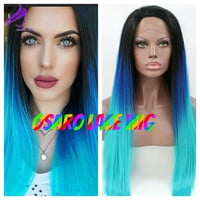 blue teal ombre  lace front wig. heat safe. Natural hair line. any lenght