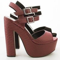 Elda By Speed Limit 98, Peep Toe Double Buckle Platform Chunky High Heel Pumps