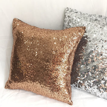 Luxury Glamour. Copper Sequins Sparkling Pillow Cover. 16inch Bronze Bling Decorative Cushion Cover. Sparkly Wedding Decor