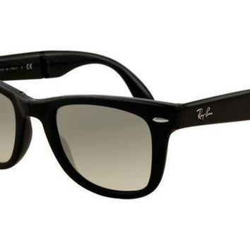 Ray Ban RB4105 Folding Wayfarer Sunglasses Black Frame Crystal G