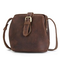 Retro Genuine Leather Bucket Bag Shoulder Bag Crossbody Bag