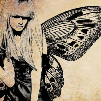 modern day fairy woman png clip art digital stamp image download butterfly wings blonde printable art