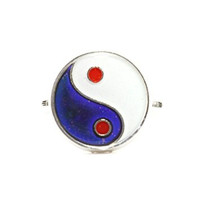 Yin Yang Mood Ring Adjustable Silver Tone Color Change RL20 Statement Fashion Jewelry