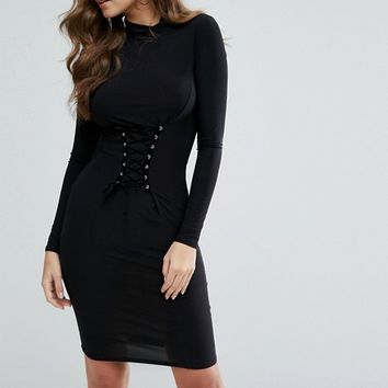 Club L Midi Dress with Corset Lace Up Detail at asos.com