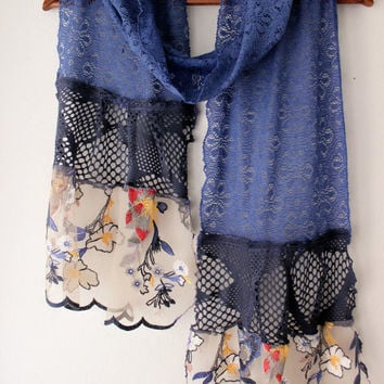 Blue lace scarf, extra long scarf, cotton lace scarf, white flowers, handmade blue lace, unique blue scarf, mother gifts, romantic scarf