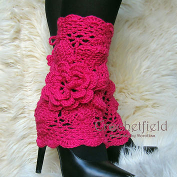 Pink Leg warmers, boot cuffs, lace boot socks, Crochet Dance / Ballet Leg Warmers,fitness boot socks,Gift for her Women's Fashion Accessory