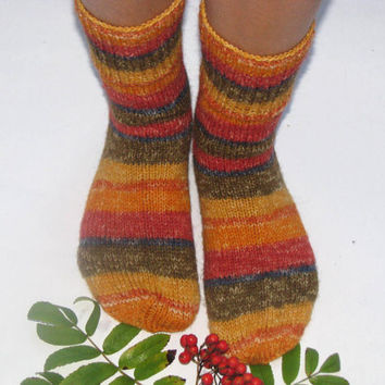 hand knitted women and men wool socks,  Christmas gift
