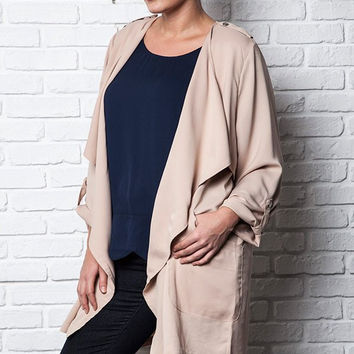 Plus Size 3/4 Sleeve Trench Coat