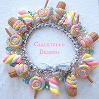 A Sweet Charm Bracelet Cupcake, Lollipop, Marshmallow Charms Pearls and Crystal Charms