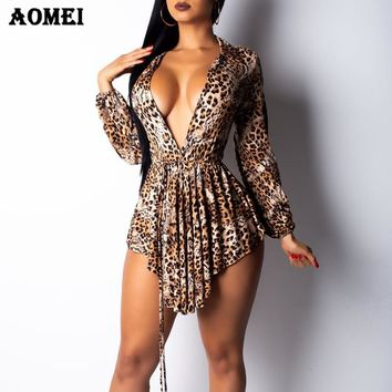 Women Leopard Blouse Shirts Peplum Long Sleeve Sexy Deep V Neck Print Ladies Irregular Length Fashion Casual Spring Tops Blusas
