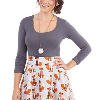 ModCloth Quirky Short Length A-line Playful Feeling Skirt in Foxes