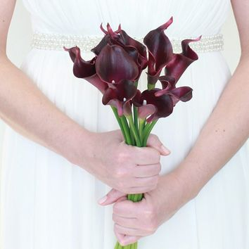 "Real Touch Small Hand-Tied Calla Lily Wedding Bouquet in Dark Purple13"" Tall x 7.25"" Bouquet Diameter"