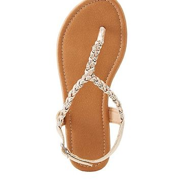 Metallic Braided T-Strap Sandals | Charlotte Russe