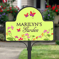 Personalized Garden Yard Stake - Floral Welcome