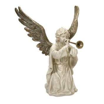 Angel Figure - Kneeling Angel Playing Horn