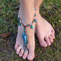 Macrame Barefoot Sandal Anklet with Agate & wooden beads Yoga belly dance Beach hippie boho gypsy festival wedding