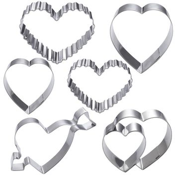 6 piece Stainless Steel Heart Shape Cookie Cutter Set