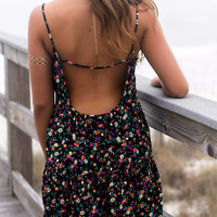 I'll Write Your Name Black Floral Print Open Back Swing Dress