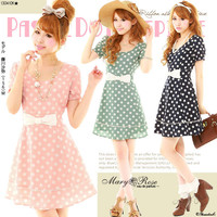 Rakuten: [to Dolly dot quality of chest キュン ♪ waist 細魅 せ ribbon tempura dot flare dress  ] P]It has been had ◆- Shopping Japanese products from Japan