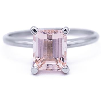 Juliette 8mm x 6.5mm Emerald Cut Peachy Pink Morganite Center Gem 14k Solid White Gold Emerald 4-Prong Peg Setting Solitaire Ring 1.8 CTTW