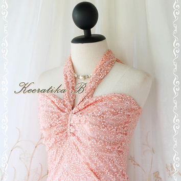 Princess Jasmine II - Gorgeous Party Cocktail Wedding Bridesmaid Night Lace Dress Peachy Tangerine Halter Style Jasmine Collection