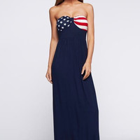 Blue American Flag Print Sweetheart Maxi Dress