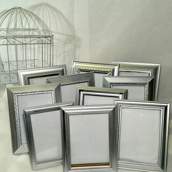 10 Silver Table Number Wedding Frames Silver Picture Frame Set 5x7 Standing Tabletop Silver Frames