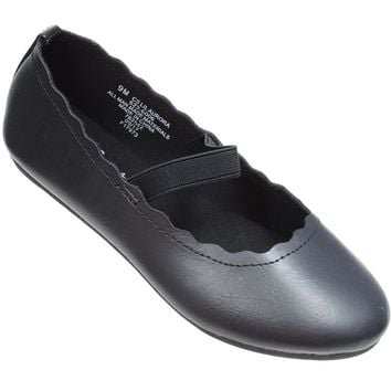 School Girl Black Ballet Scalloped Flats w/Elastic Band Kids