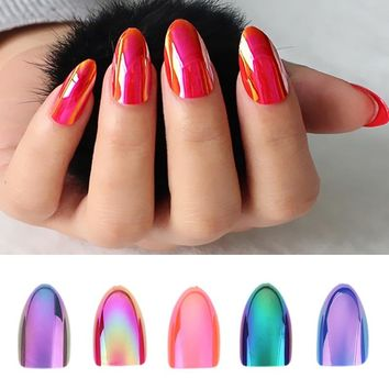 12 pc Nail Tips Chameleon Holographic Laser Mirror Shiny  Fake Nails With Glue Full Cover Oval Stiletto  Press on Nail