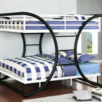 Sheffield Black and White Full over Full Bunk Bed