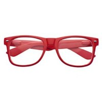 MJ Boutique's Glossy Red Wayfarer Nerd Glasses Clear Lens